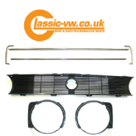 Mk1 Golf Single Lamp Grille Set With Chrome Trim (Budget)